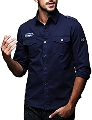 Hombre Camisas Manga Larga Militar Estilo Color Sólido Camiseta De Acampada Y Senderismo – Camisa para hombre (Azul marino, L): Amazon.es: Hogar