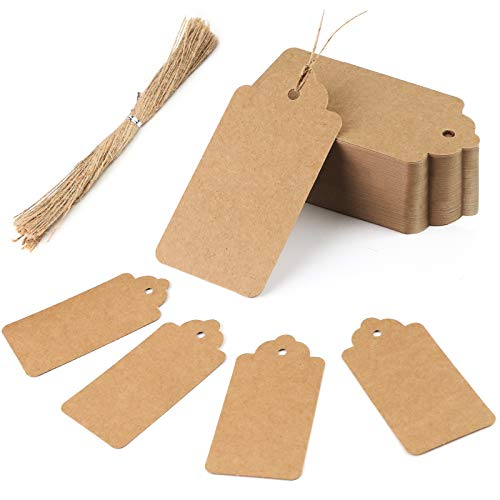 HAKACC Paper Gift Tags, 100 PCS Brown Gift Tags with String for DIY Arts and Crafts Christmas DIY Kraft Gift Tags