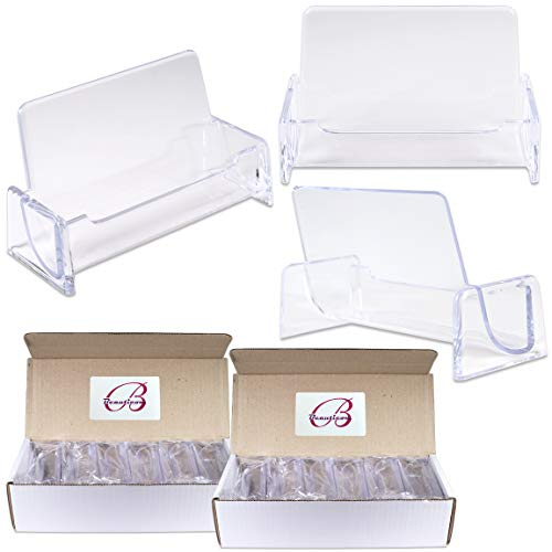 Beauticom 24 Pieces - Clear Plastic Business Card Holder Display Desktop Countertop (Style # 3) -