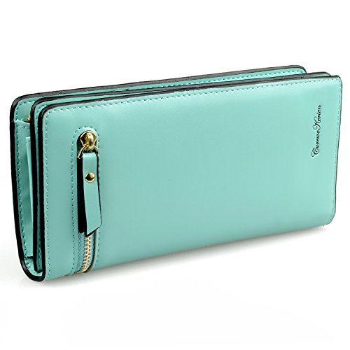 Gottowin Women Long Wallet Clutch Handbag Card Cellphone Coin Organizer Mint Green PU Leather Purse Medium Size + Card Holder by Gottowin