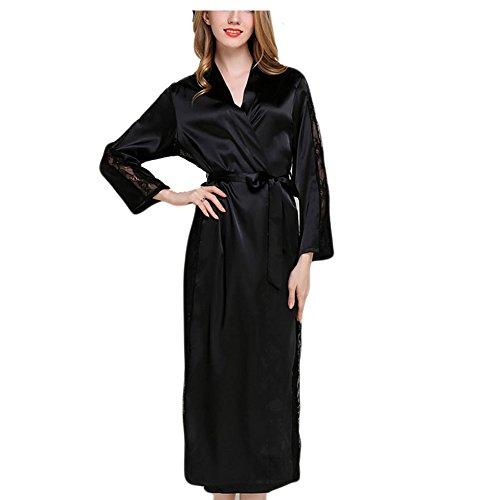 アイスシルクスリーピングスカートファッションローブレースバスローブSPAスリープナイトパジャマ - ブラック