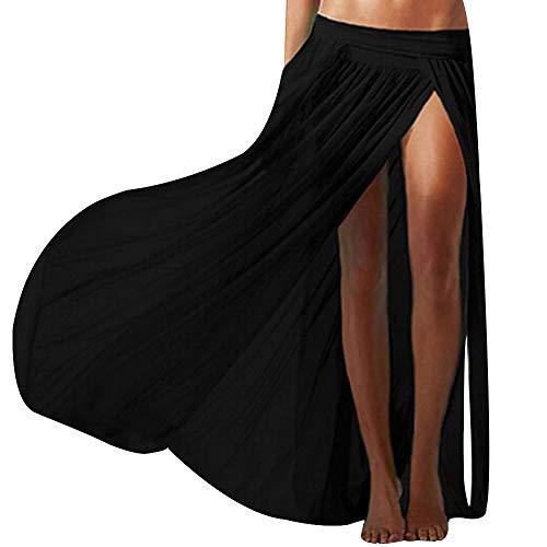 Adela Boutique Sexy Mesh Maxi Skirt Beach Cover ups Slit Gauze Wrap Skirts for Women (Black)