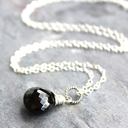 Black Spinel Necklace Sterling Silver Faceted Opaque Gemstone Pendant 18 Inch