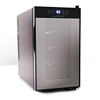 NutriChef PKTEWC80 Electric Chilling 8 Wine Cooler, 8 Bottle, Silver