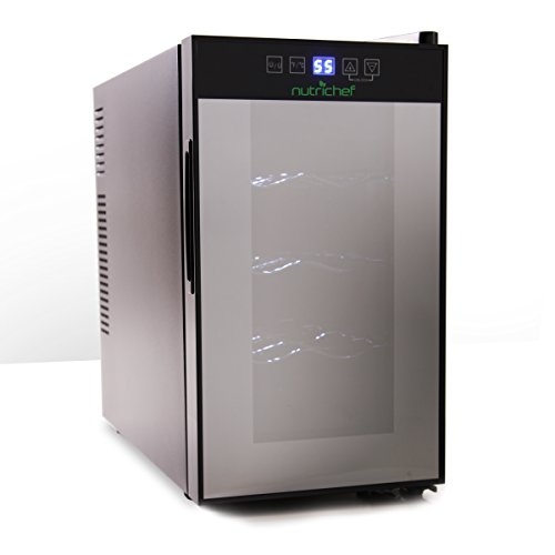 Nutrichef 8 Bottle Thermoelectric Wine Cooler Refrigerator | Red, White, Champagne Chiller | Counter Top Wine Cellar | Quiet Operation Fridge | Touch Temperature Control (Champagne Cooler Wine)