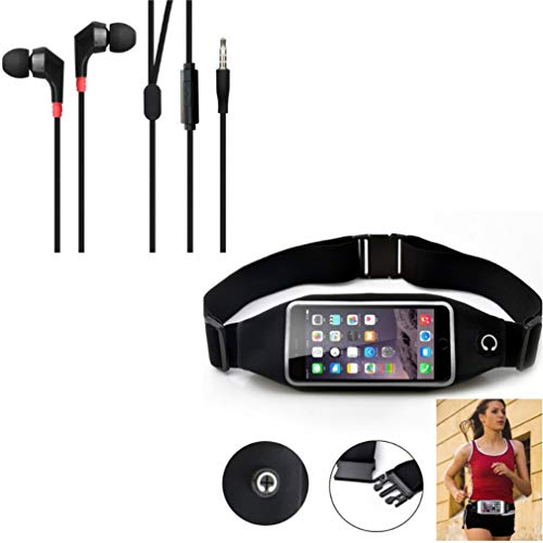 Black Sport Workout Belt Waist Bag Case w Superior Sound Earbuds Hands-Free Earphones w Mic P1Q Compatible with LG Premier LTE, K20 Plus, Optimus G Pro, Lite, V50 ThinQ 5G, V40 ThinQ