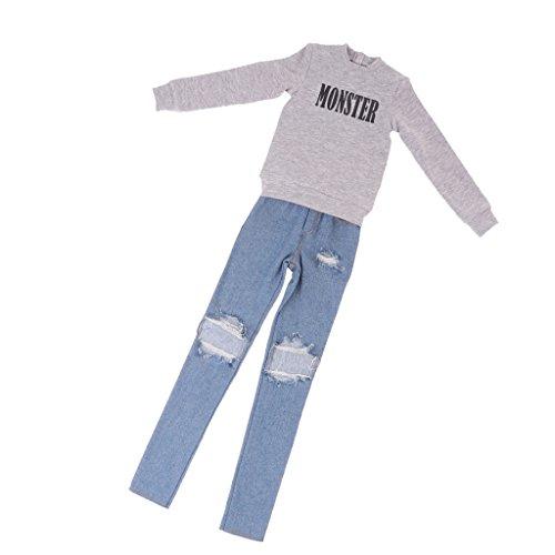 Baoblaze 70cm Uncle bjd Outfit Gray Tshirt Ripped Denim Jeans for 1/3 BJD SD17 DK DZ Dollfie