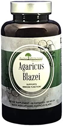 Aloha Medicinals - Pure Agaricus Blazei – Certified Organic Mushroom - Natural Health Supplement – Supports Cardiovascular, Liver, Gut, Joint, Energy Health – Insulin, Cholesterol Control- 90 Capsules.