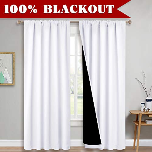 - PONY DANCE 2 Layers Blackout Curtains - (W 52 - L 95 in, Pure White) Double Layers Window Drapes for 100% Light Block Thermal Full Shading Lined Draperies for Sliding Glass Door, 2 Panels