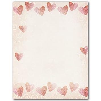 Amazon.com: Obra maestra corazón rojo letterhead – 8,5 x 11 ...