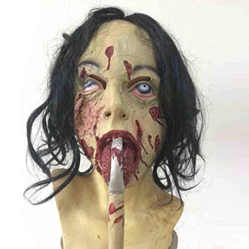 LW Halloween Bloody Silicone Mask, Horror Zombie Mummy Headband Mask Adult Costume Party Cosplay (One -