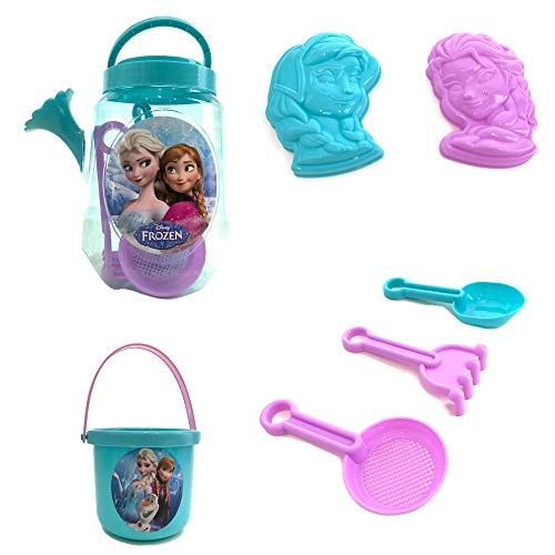 Frozen Sand Toys Watering Can for Kids 7 Pieces in a Set - Sandbox Toys kit Comes with 1 Shovel, 1 Rake, 2 Sand Molds, 1 Sand Sifter, 1 Pail, 1 Watering can