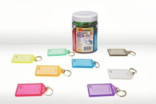 Acrimet Key Tag Jar w/ 24 Keyring Tags (Assorted Colors)