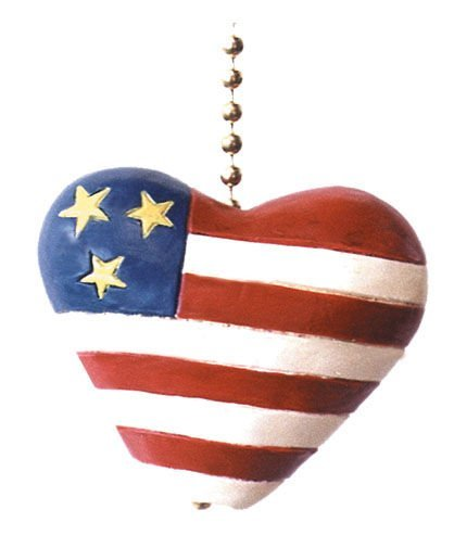 Clementine Designs Red White Blue Flag Heart Patriotic Ceiling Fan Light Pull