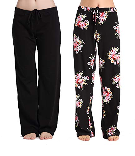 CYZ Women's Casual Stretch Cotton Pajama Pants Simple Lounge Pants-BlackFloral2PK-XL ()