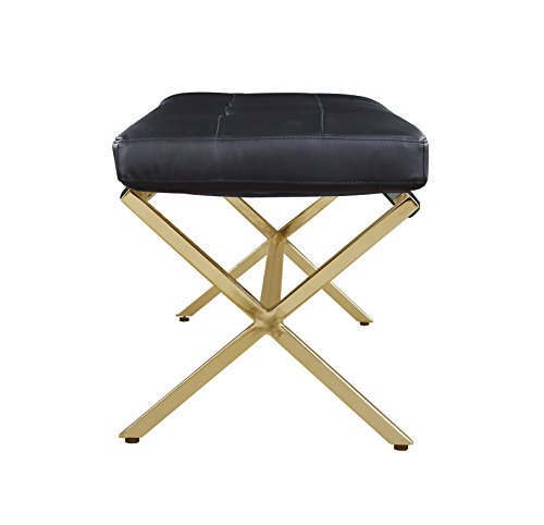 Iconic Home Claudio PU Leather Modern Contemporary Tufted Seating Goldtone Metal Leg Bench, Black by Iconic Home (Image #4)
