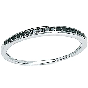 0.25 Carat (ctw) Sterling Silver Black Round Real Diamond Wedding Anniversary Stackable Band Ring 1/4 CT (Size 5.5)
