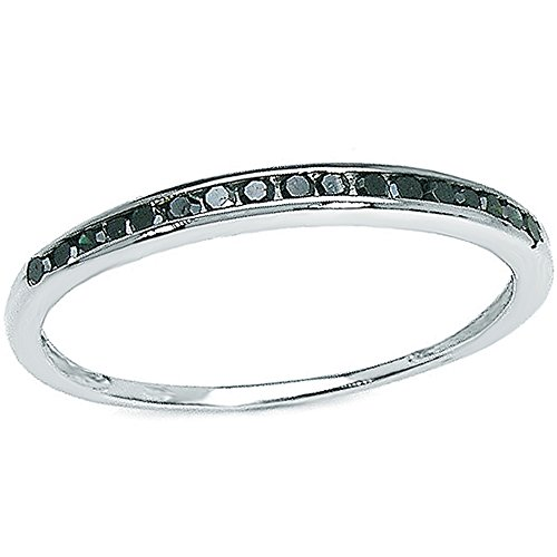 Dazzlingrock Collection 0.25 Carat (ctw) Sterling Silver Black Round Real Diamond Wedding Anniversary Stackable Band Ring 1/4 CT, Size 7