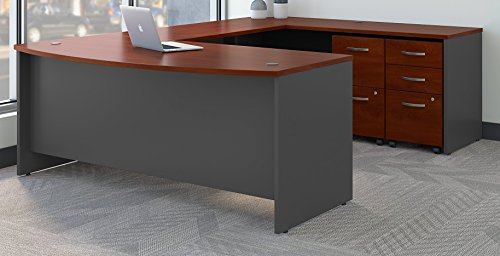 (Bush Business Furniture Series C 72W x 36D Bow Front U Shaped Desk with Mobile File Cabinets in Hansen Cherry)
