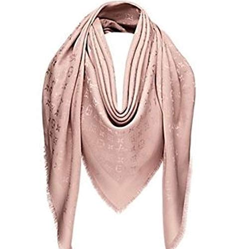 Designer Inspired Monogram Logo Shawl in Blush Pink Rose Women's Silk Scarf Imitation Replica Classic Print Wrap Authentic Luxurious Quality Textile Pashmina Travel Fashion Accessory From USA Large