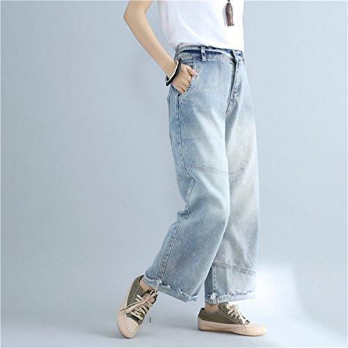 Larga Retro Casuale Lungo Jeans Vita Blu Donne Moda Wanyang Gamba Denim Pantaloni Stile Di Con Elastica Chiaro TzfYwXq