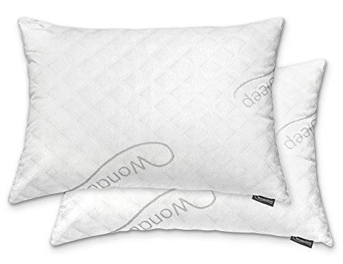 WonderSleep Premium Adjustable Loft [Queen Size 2-Pack] - Shredded Hypoallergenic Memory Foam for Home & Hotel Collection + Washable Removable Cooling Bamboo Derived Rayon Cover - 2 Pack - Pillow Queen Memory Foam Size