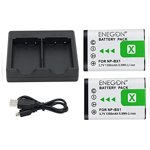 NP-BX1 ENEGON Battery (2-Pack) and Rapid Dual Charger for Sony NP-BX1, NP-BX1/M8 and Sony Cyber-Shot DSC-RX100, DSC-RX100 II/III/V/IV, DSC-RX100M II, HDR-CX405.