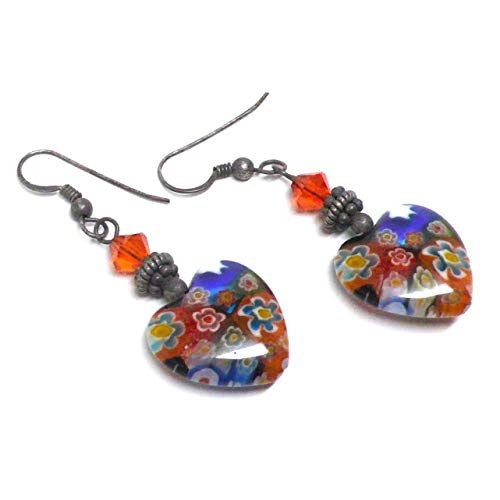 Millifiore 16mm Glass Heart OOAK Earrings Swarovski Crystal Oxidized Sterling Silver Orange