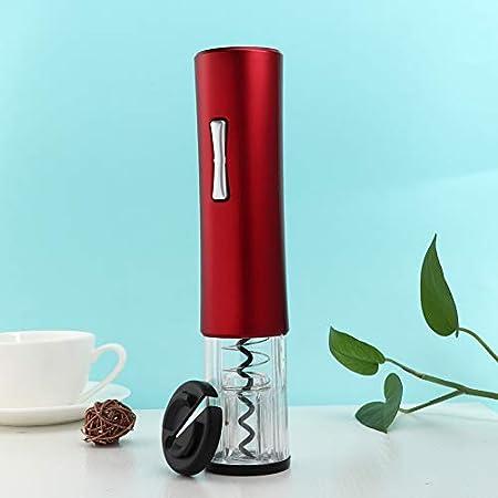 Abridor de vino eléctrico, sacacorchos automático de vino Abridor de botellas de vino eléctrico con cortador de papel de aluminio y luz azul(Red)
