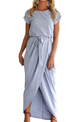 La Mujer Es Elegante Corte Irregular Sobrepelliz Maxi Boho Playa Vestido De Verano Blue