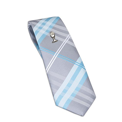 Boys Aqua Plaid Tie and Silver Chalice Tie