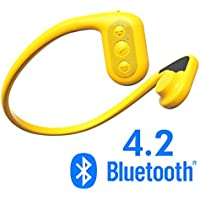 Tayogo waterproof headphones, MP3 player, bone conduction technology, IPX8 waterproof, powerful mobile phone APP can control Bluetooth, MP3, FM and pedometer four functions-Yellow