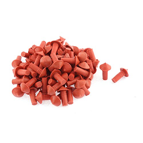 uxcell 100 Pcs Mushroom Style Tire Repair Insert 7mm Socket Orange Red Black