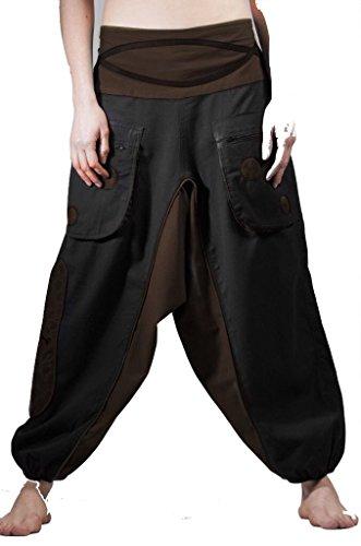 Pantalones de harén, pantalones de Aladdin, harén pantalones, pantalones de yoga, pantalones de Alibaba Negro Y Marrón