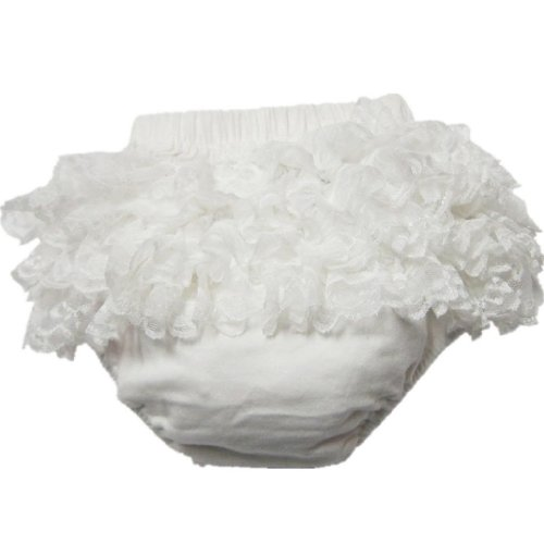 Buenos Ninos Baby Girl's Soft Lace Top Baby Diaper Bloomer,Ivory,S