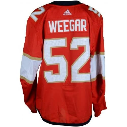 online store d80c9 cc913 Mackenzie Weegar Florida Panthers Game-Used #56 Red Set 1 ...