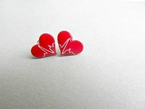 Heartbeat Stud Earrings, gifts for nurses, doctors, medical, scrubs accessories, gifts for nurses
