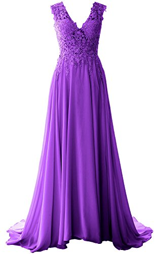 Prom V Neck Elegant Chiffon Violett Lace Dress Long MACloth Evening Formal Vintage Gown xIR4qIwd