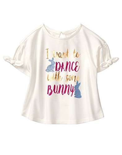 Crazy 8 Girls' Toddler Sparkle Bunny Tee, Ivory, 3T