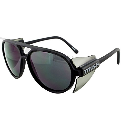 Titus Side Shield Aviators - New Style Black Sport Rider SunGlasses ANSI Z87.1 - Sunglasses Z87.1 Ansi