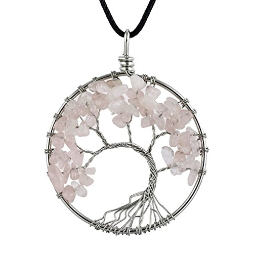 - AUWU Women Natural Crystal Stone Lucky Life Tree Pendant Necklace Ladies Multicolor Wisdom Tree Leather Chain
