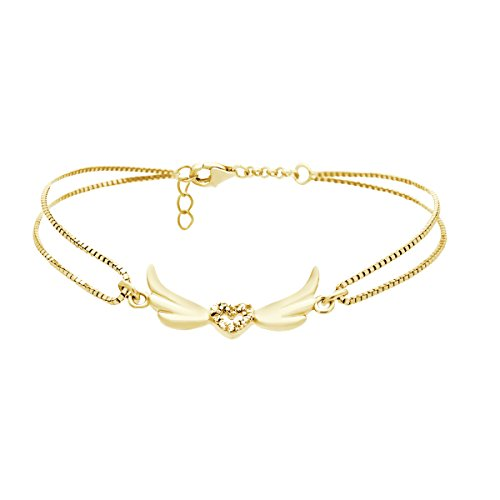 TZARO-Jewelry 925 Sterling Silver Tiny Flying Heart Bracelet Dainty Heart Bracelet w Silver Wings & CZ Crystal Angel Bracelet - 2 gram,Lobster Clasp Gift For Her (yellow-gold-and-sterling-silver)