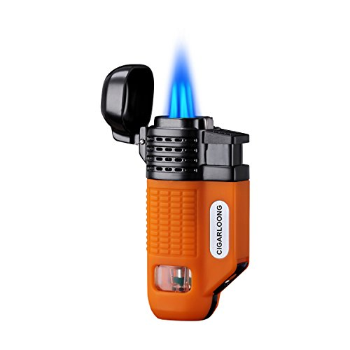 CIGARLOONG Cigar Lighter 4 Jet Torch Blue Flames Refillable Butane Torch Lighter with Cigar Punch (Color:Orange) (Blue Flame Lighter)