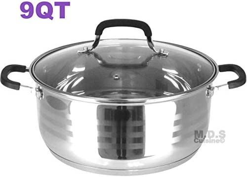 Dutch Oven Pot Stainless Steel 5 Layer Extra Impact Capsulated Bottom w Lid Glass Olla Traditional Heavy Duty 9Qt