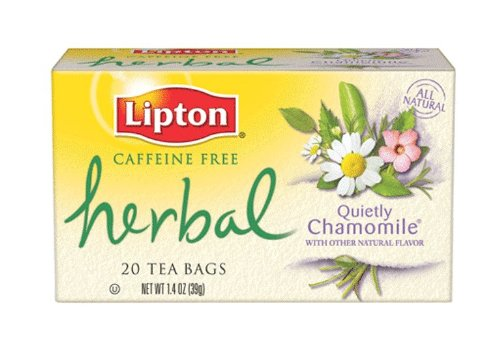 Lipton Herbal Tea, Quietly Chamomile, Tea Bags, 20-Count Boxes (Pack of 6)