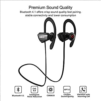 Bluetooth Headphones Waterproof, IPX7 Wireless Earbuds Sport HiFi Stereo Richer Bass Wireless Headphones with Mic, 10 Hours Playback Noise Cancelling in Ear Earphones with Carrying Case