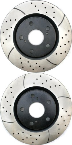 Prime Choice Auto Parts PR41436LR Drilled and Slotted Performance Rotor Pair for Front
