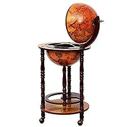 Eight24hours 36 Wood Globe Wine Bar Stand 16th Century Italian Rack Liquor Bottle Shelf New + FREE E-Book