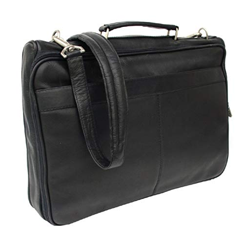 (Piel Leather Entrepeneur Double Executive Computer Bag in Black)