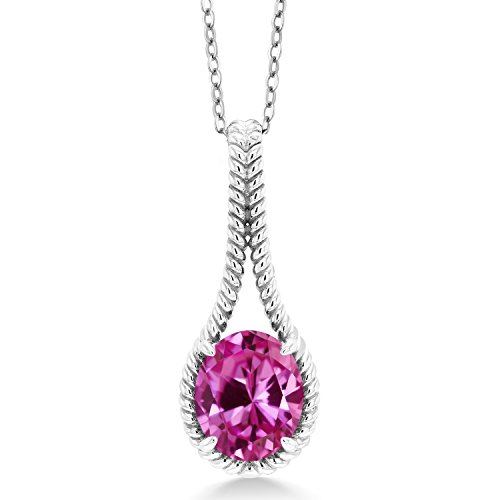6.00 Ct Oval Pink Created Sapphire 925 Sterling Silver Pendant With Chain by Gem Stone King